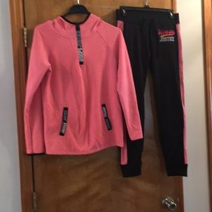 Girls Justice Zip up hoodie and joggers set